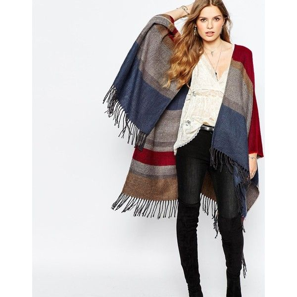 Pepe Jeans Fringe Poncho (€62) ❤ liked on Polyvore featuring outerwear, multi, fringe poncho, white poncho and pepe jeans london
