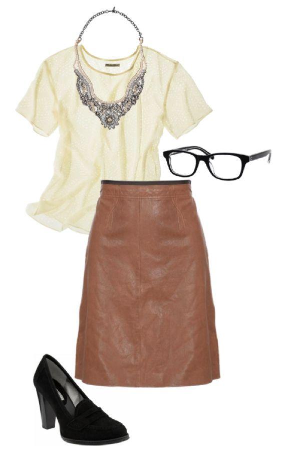 Madewell tee, Valentino necklace, Banana Republic eyeglasses, Club Monaco leather pencil skirt, Banana Republic high heel penny loafers.