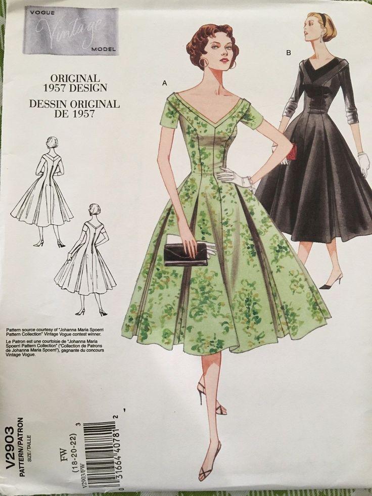 V2903 старинные 1950-х годов мода дизайн шитье 1957 выкройка платья покровителя де Кутюр | ибее