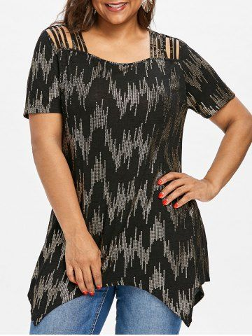 d9cffbb83f1 Shop for Black 5xl Sequined Plus Size Strappy Tee online at  11.99 and  discover fashion at RoseGal.com Mobile
