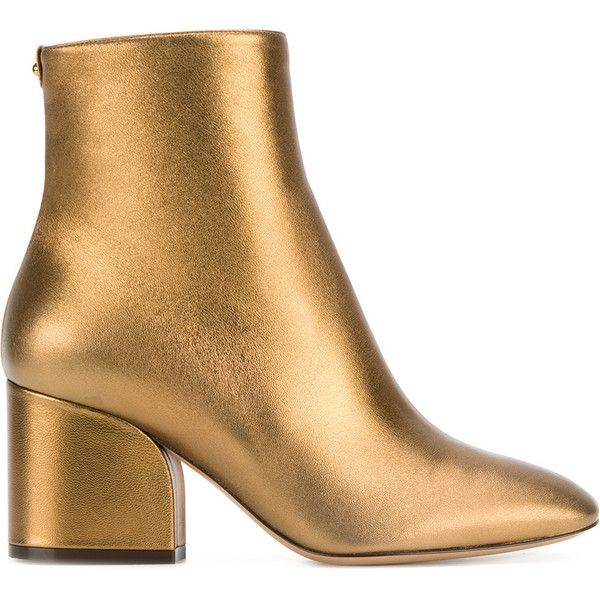 Salvatore Ferragamo Pisa Boots ($835) ❤ liked on Polyvore featuring shoes, boots, ankle booties, gold, almond toe boots, block heel boots, ankle bootie boots, ankle boots and salvatore ferragamo