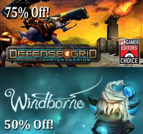 The Steam Summer Sale has arrived! Right now you can get Defense Grid: The Awakening and all its DLC for 75% off and Windborne for 50% off until June 30. Details: http://store.steampowered.com/