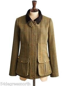 Joules-Field-Coat-Womens-Semi-Fitted-Tweed-Fieldcoat-R-Mr-Toad-Green-Size-20