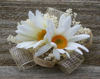 Shabby Chic Daisy Burlap Bridal Corsage
