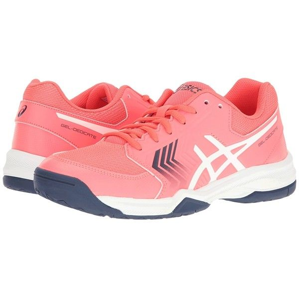 ASICS Gel-Dedicate 5 (Diva Pink/White/Indigo Blue) Women's Tennis... ($70) ❤ liked on Polyvore featuring shoes, athletic shoes, breathable tennis shoes, pink shoes, asics athletic shoes, cushioned shoes and breathable shoes