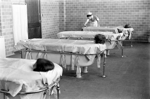 A form of treatment used up until the mid 1900s was to put female asylum patients in baths, zip them in from the outside so they are unable to get out, and leave them in these baths for several hours, usually in a dark room. This was considered therapy.