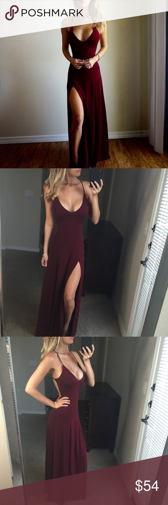 {Last One}-Love Me to the Maxi Dress- This maxi will make you feel unstoppable from the moment you step into it. Double high slits in the front to show off your legs. Open back with crossover straps. Low v neck cut. Gorgeous deep burgundy hue. High quality buttery soft fabric. •Fabric: Polyester & Spandex •Made in the U.S.❤️ •Medium measures 58 inches long from Shoulder to hem. •I am modeling a Medium, my measurements are: 34-24-35 Boutique Dresses Maxi