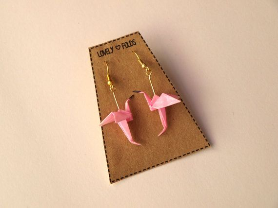 Pendientes de flamencos de origami