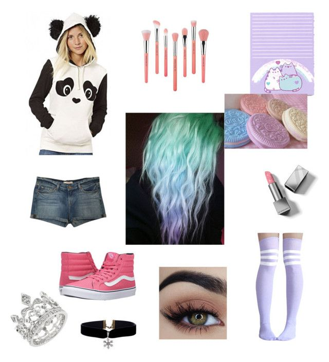 """Pastels"" by jessiestarman ❤ liked on Polyvore featuring Pusheen, Vans, Burberry, WithChic, J Brand, Bdellium Tools, cute, panda, pastel and hoodie"