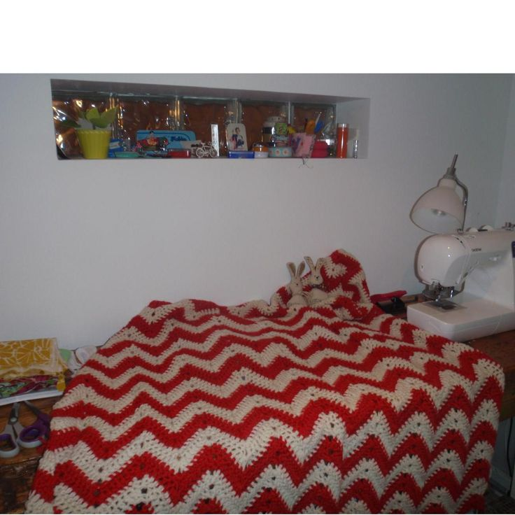 Snuggly crochet chevron throw by Hector and Hilary for $120