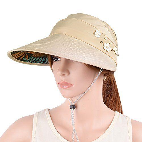 81a7106da08 VBIGER Womens Visor Hat UPF 50 Sun Protective Sun Hat Large Brim Summer  Beach Hat