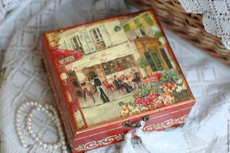Купить Шкатулка винтажная Сказки старого города - бордовый, терракотовый, терракотовый цвет, терракот, шкатулка