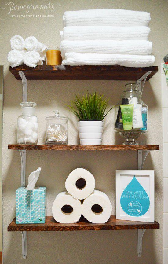 Bathroom Storage: Over the Toilet  I don't like the metal brackets but I like the organization
