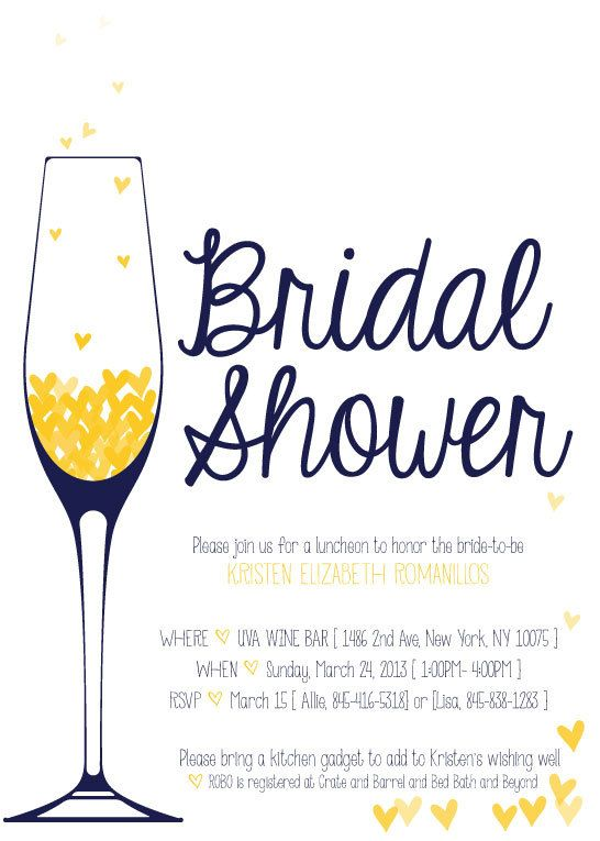 Champagne brunch bridal shower invitation the originals for Champagne brunch bridal shower