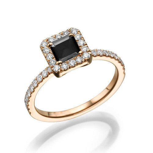 black diamond ring 14k gold ring halo engagement ring princess httpblackdiamond - Wedding Ringscom