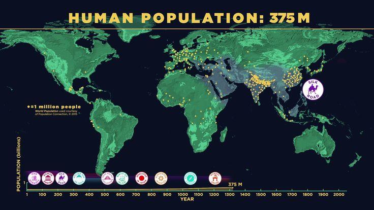 VIDÉO : Regardez la population mondiale se développer sur cette carte du monde où un point jaune représente 1 million d'habitants.