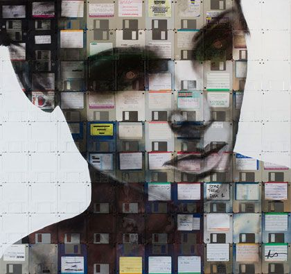 Floppy disk art by Nick Gentry
