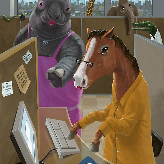 Animal Office-cartoon animals working in an office. The horse is being trained in new software by a hippo.  #animals #horse #cartoon #work #office #typing #funny