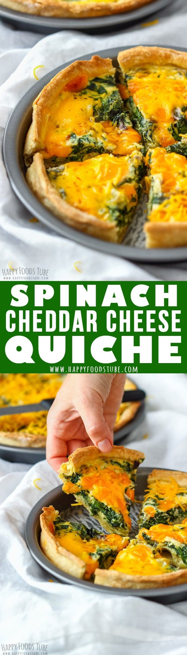 Spinach and Cheddar Quiche is a meat-free pie that can be served as appetizer as well as main dish. Perfect for breakfast, lunch or dinner. #quiche #vegetarian #spinach #cheddar #cheese #howtomake #homemade #recipe #french #food #cooking #crust #breakfast #lunch #dinner #meatless #meatfree via @happyfoodstube