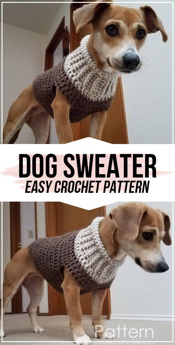 crochet Dog Sweater pattern - easy crochet pet pattern for beginners