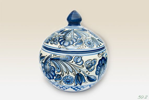 Lidded Bonbonniere with blue Flower motives . by HabanCeramic, Ft11900.00