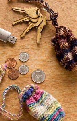 Free Crochet Key Ring Pouch Pattern.
