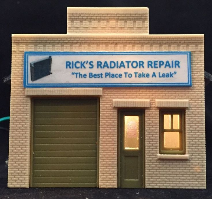 "HO Scale Auto Shop Building ""Rick's Radiator Repair"" • Built Up & Lighted • DPM  