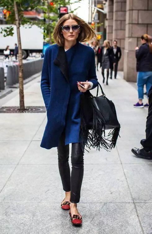 Olivia Palermo Street Style With Navy Coat And Leather Pants Oliviapalermo Fabfashionfix