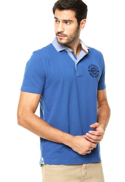 Camisa Polo Tommy Hilfiger Regular Fit Flocado Azul - Marca Tommy Hilfiger