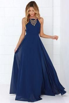 Navy Blue Prom Dresses Long Evening Wear Floor Length Piping Chiffon High Fashion Party Formal Dress Cocktail Gown Low Price Modern Modest Yellow Prom Dress 2015 Dresses From Yoyobridal, $79.22| Dhgate.Com