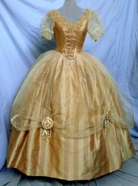 Victorian Princess Wedding Silk Ball Gown by SatinShadowDesigns -- Reminds me of Belle's ball gown.