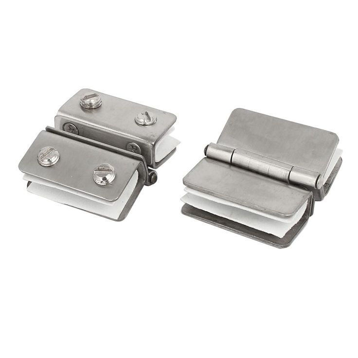 10mm Thickness Double Clamps Glass Door Hinges Silver Tone 2pcs
