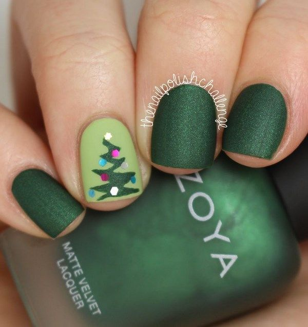 Green Christmas Nails - Uñas navideñas color verde