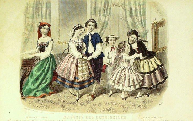 DEzember 1854  ++++++++++  GRAVURE de MODE AUTHENTIQUE-W 76-MAGASIN DES DEMOISELLES-1854