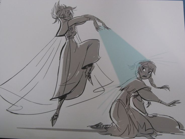 Anna and Elsa Concept Art  - Frozen. They originally intended for Elsa to be evil. I think they made the right choice making her a good guy.