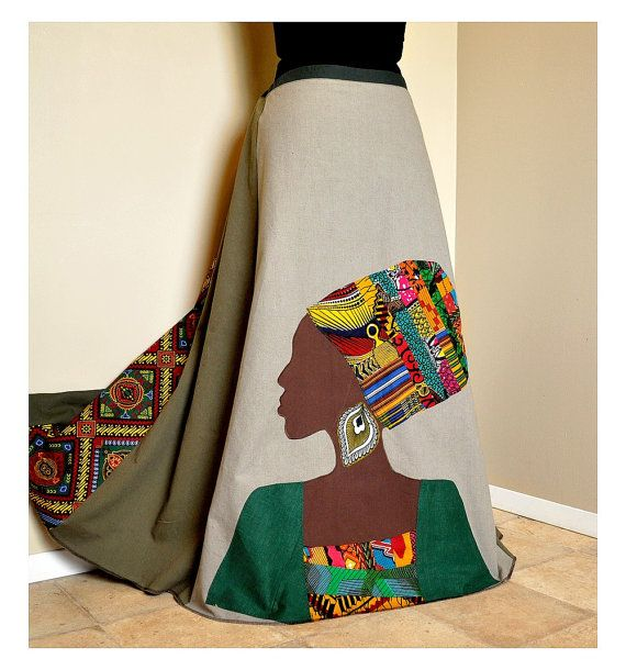 La Nubienne - Long Tribal Hippie skirt, African Patchwork Boho skirt, Ooak Appliqued Ethnic skirt, Can fit S to XL