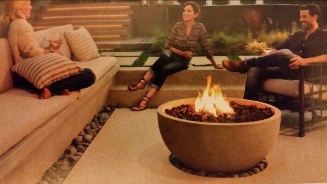 Eldorado Stone fire bowl with concrete seating