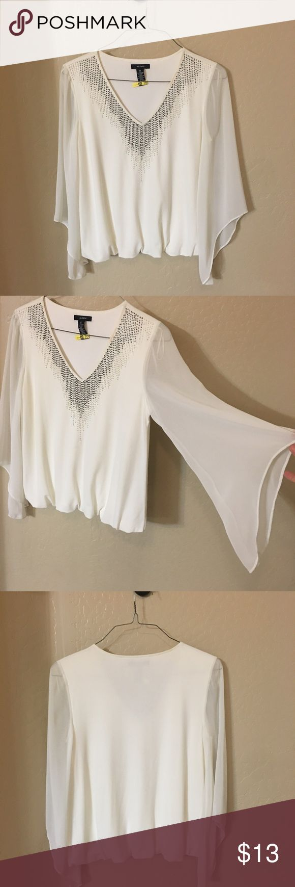 White dress top with beading White v neck dress too with drape sleeve and beading around neckline. Only worn once Alfani Tops Blouses