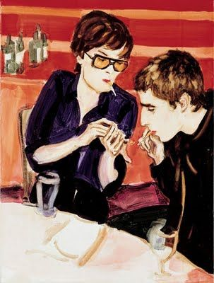 Elizabeth Peyton, Jarvis and Liam Smoking, 1997