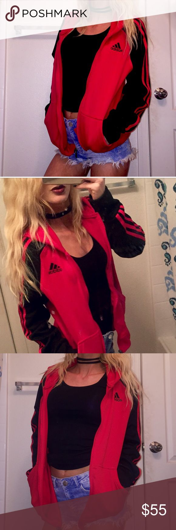 Adidas Red Superstar Track Jacket  Adidas Athletic Track Jacket  Purchased from pac sun - vintage 90's style Red with black sleeves and red racing stripes  Full zip up - front hand pockets  Perfect condition.  Size Medium  Super Cute!! adidas Tops Sweatshirts & Hoodies