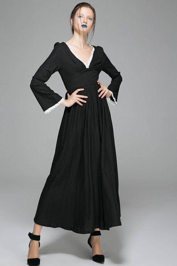 Womens kleding Maxi jurken. Zwarte linnen mix Maxi jurk met diepe V Contrast hals & Bell mouw Detail-handgemaakte Classic, Modern, Boho Chic stijl...   Slechts een aanraking verleidelijke met een diepe V knippen, en voor een vrouw die comfortabel in haar eigen huid--deze maxi jurk zwart linnen mix geeft je vrouwelijke intriges, maar klassieke stijl. Je voelt ultra moderne en sexy.  DETAIL  * gemaakt van linnen mix weefsel * grote V-hals * ingerichte taille * lange mouwen * verborgen rits...