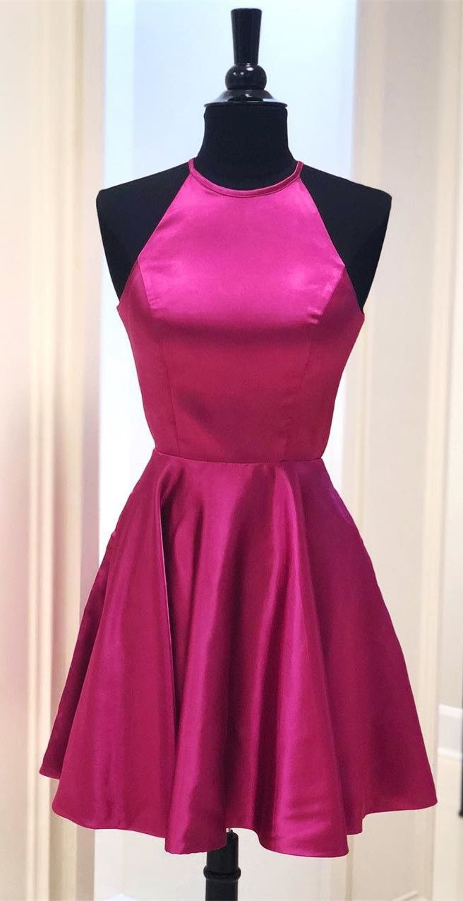 Short aline fuchsia homecoming dress with pockets from modsele in