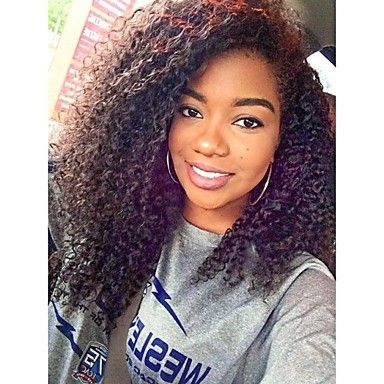 www.shorthaircuts... In Stock Brazilian Virgin 18inch Kinky Curly Natural Color Hair Lace Front Wig –