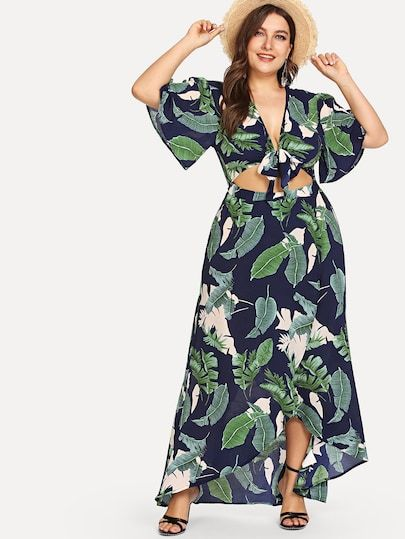 ed921ffc9c Shop Plus Knot Front Cutout Midriff Tropical Dress online. SheIn offers  Plus Knot Front Cutout Midriff Tropical Dress & more to fit your  fashionable needs.