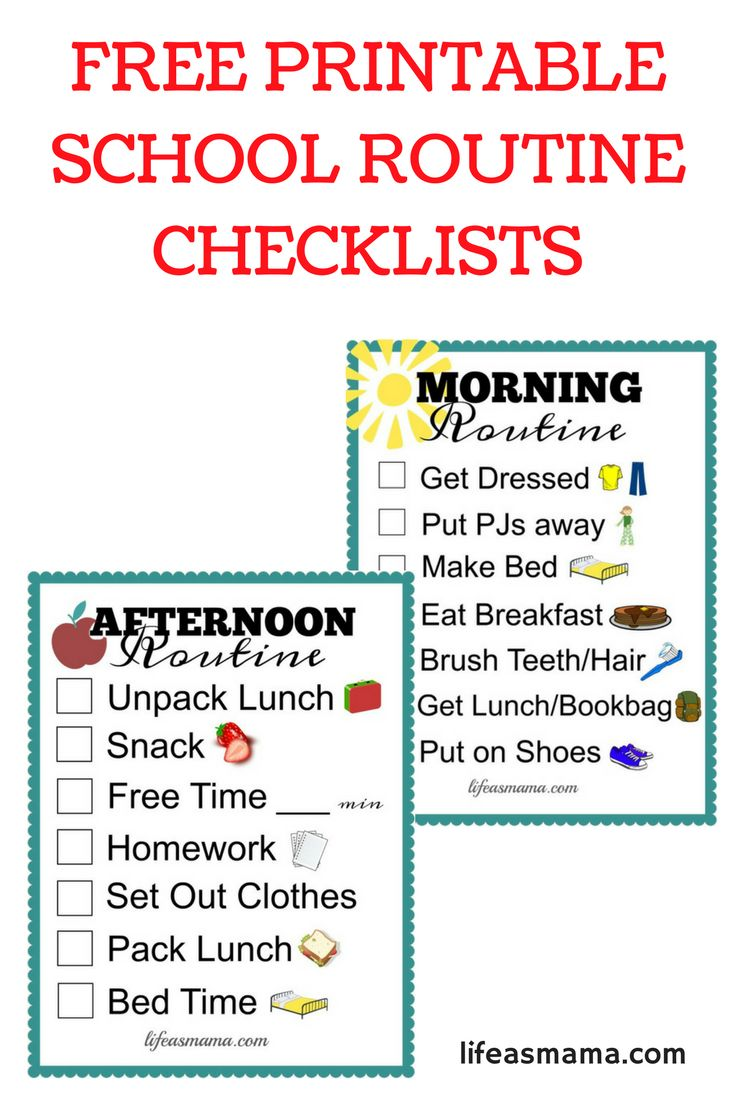 Free printable checklists that are perfect for both a morning and evening routine for kids. These are great for school mornings!