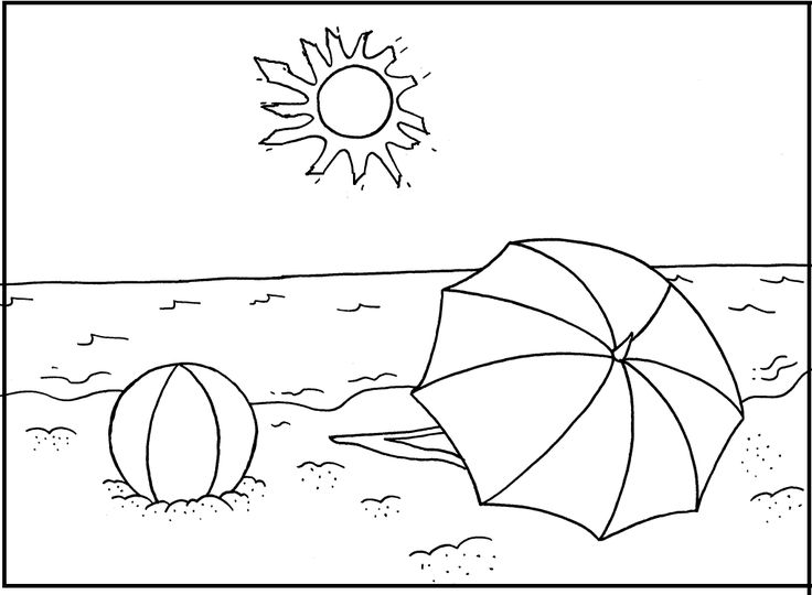 Summer Sun Shines On Beach coloring picture for kids ...