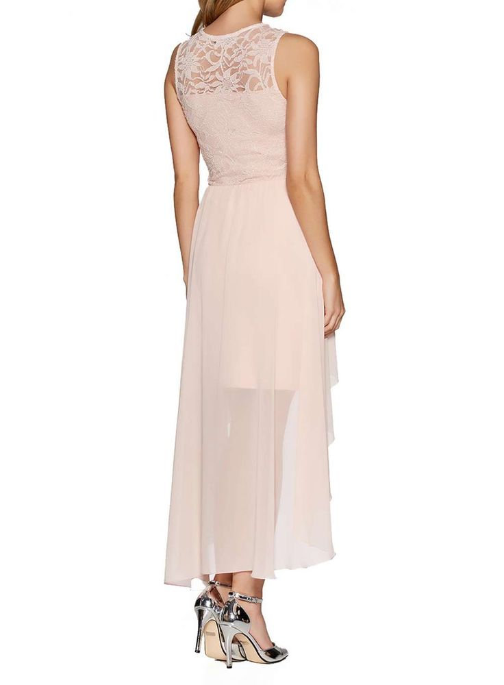 Womens *Quiz Blush Pink Lace Dip Hem Dress- Pink