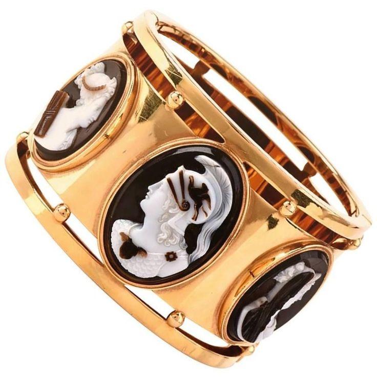 Cameo Wide Gold Large Bangle Bracelet, Roman Cameos set in Victorian Bracelet