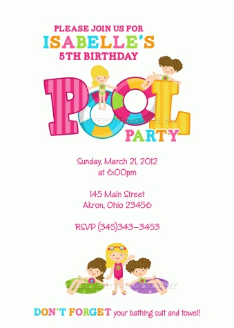 Pool Party Swimming Birthday Invitation