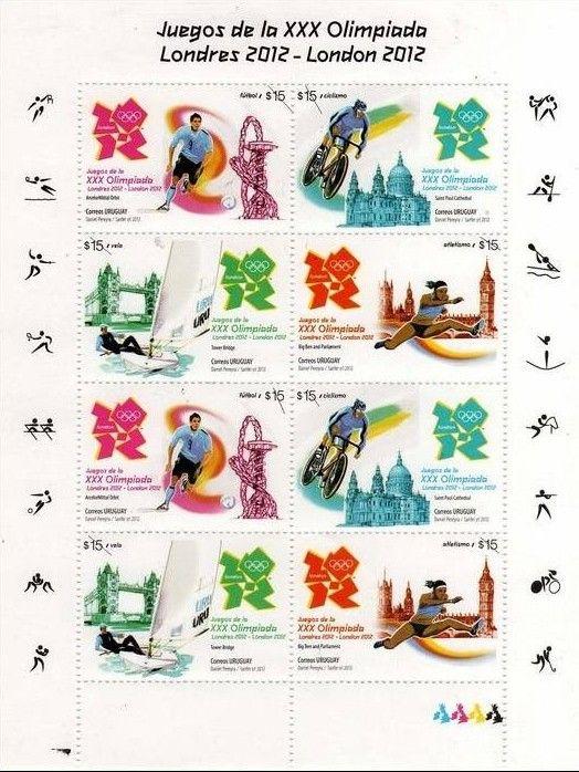 Uruguay, bloc de quatre timbres des Jeux Olympiques de Londres 2012 (football, cyclisme, voile & athlétisme) © DR.